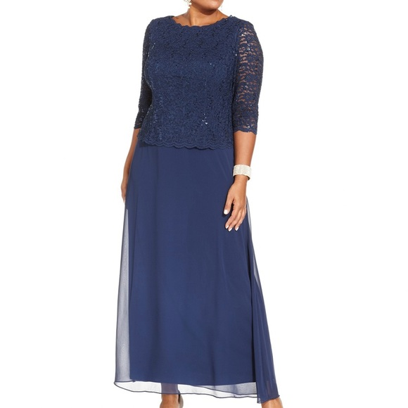Alex Evenings Dresses & Skirts - Alex Evenings Plus Size Sequined Lace Navy GownNEW
